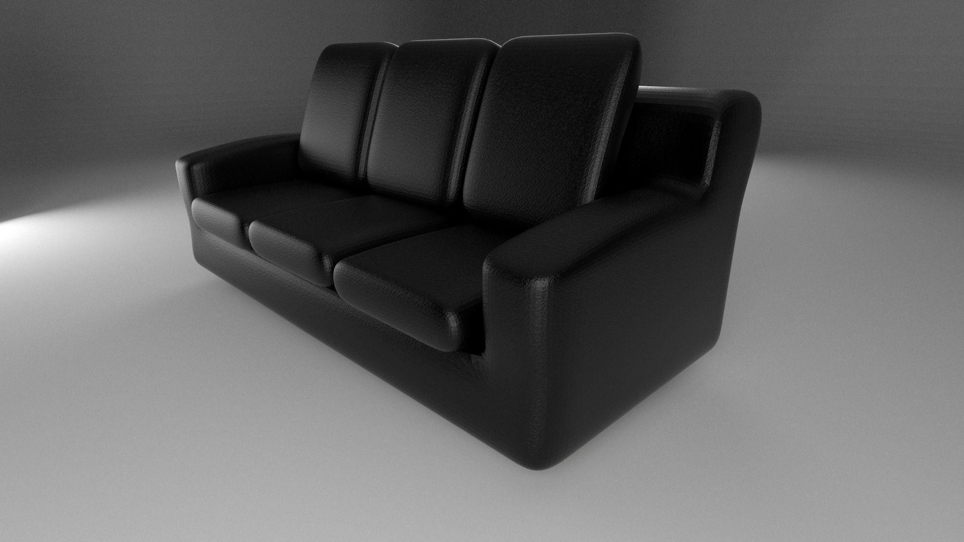 Black Leather Sofa 3d Model Obj Fbx Stl Blend Dae X3d 3