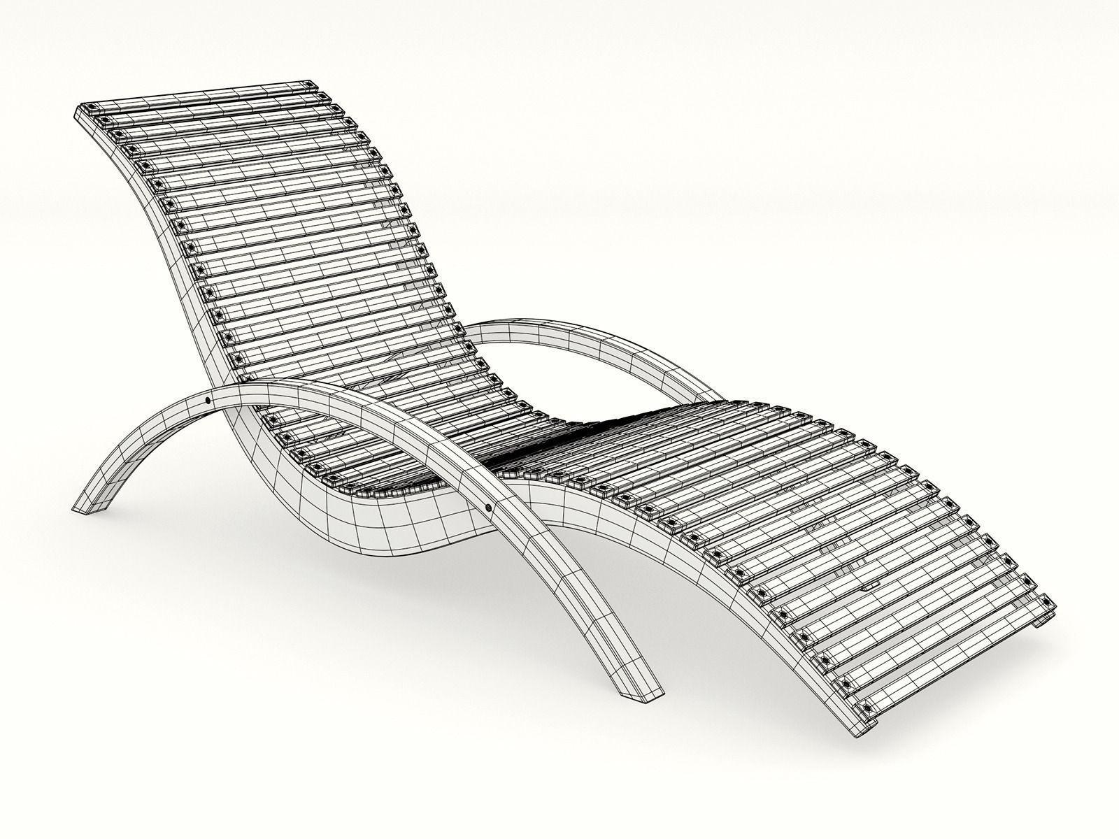 ... Lounge Chair Outdoor Wood Patio Deck 3d Model Obj Dxf Mtl 3