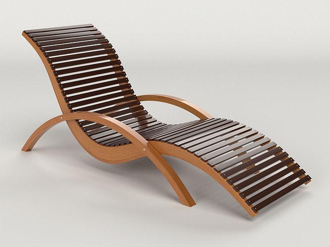 Superieur Lounge Chair Outdoor Wood Patio Deck 3D Model