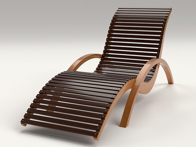 Lounge Chair Outdoor Wood Patio Deck 3d Model Obj Mtl