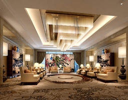 3D hotel lobby comfortable