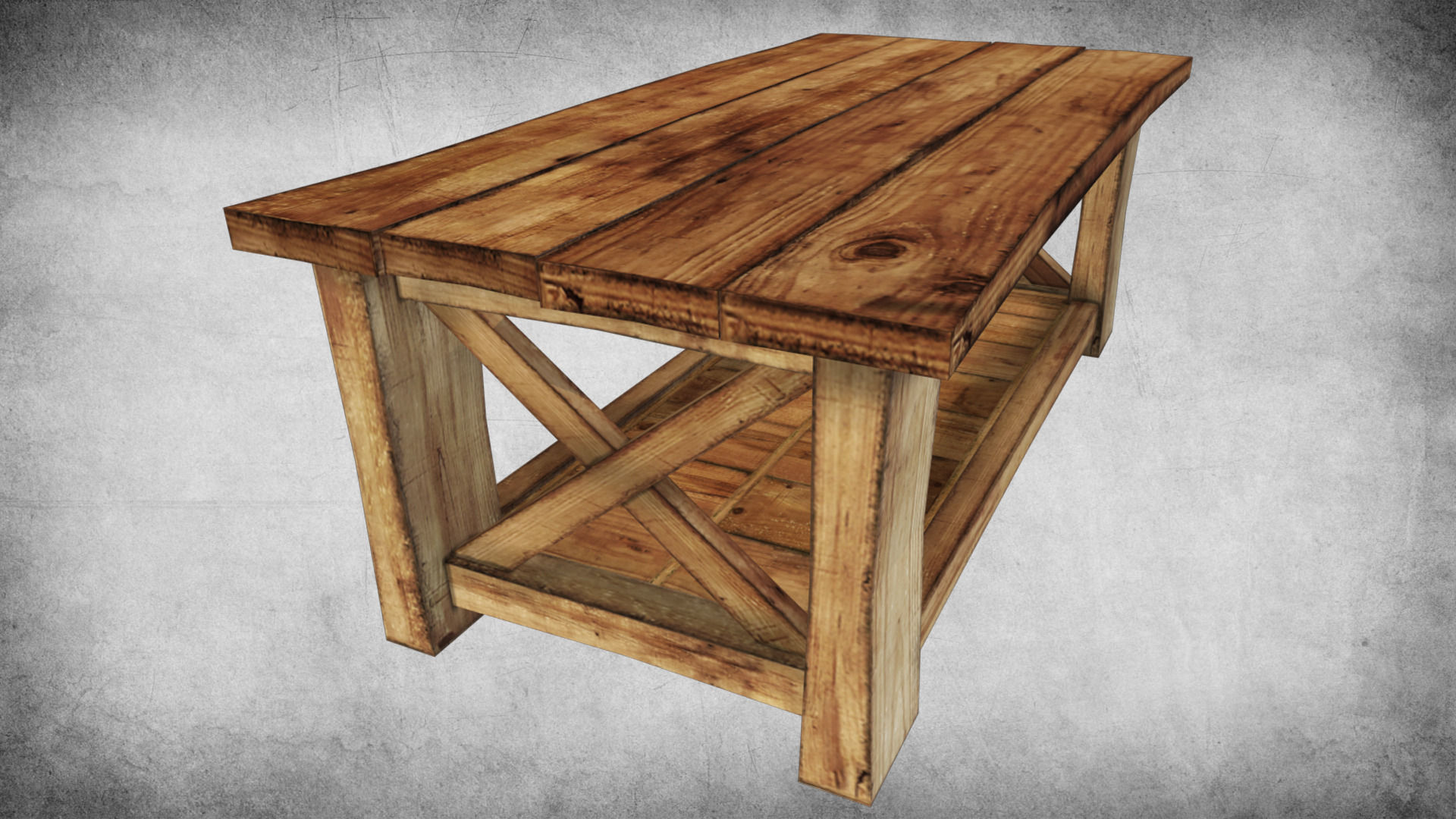 3d model rustic wood table 02 vr ar low poly max obj for Table 3d model
