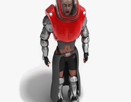 3D Futuristic Armored Biker Girl