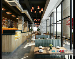 Luxurious stylish cafe 06 3D Model