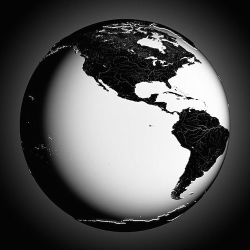 Earth black and white 3D  CGTrader