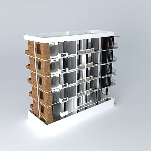 Apartment building bangladesh 3d model max obj 3ds fbx stl dae for Apartment 3d model