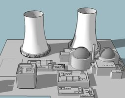 Nuclear power plant 3D model factory