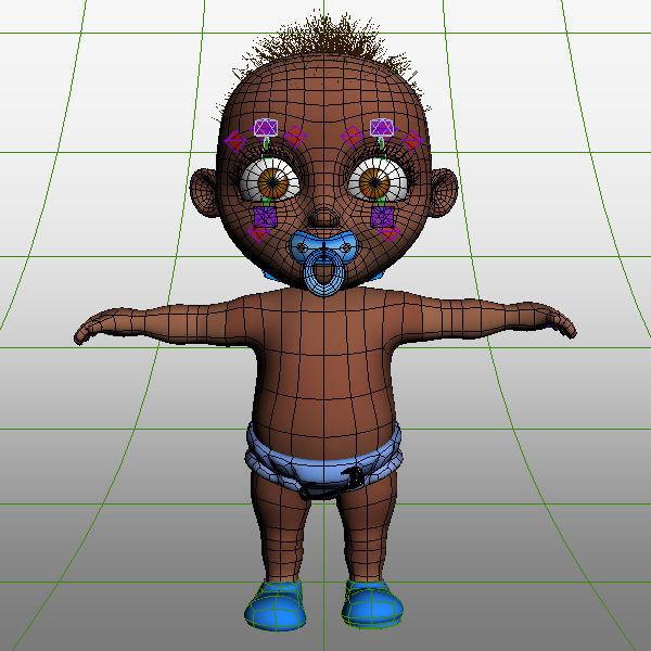 3d black baby cartoon rigged cgtrader rh cgtrader com black cartoon baby girl black cartoon baby boy