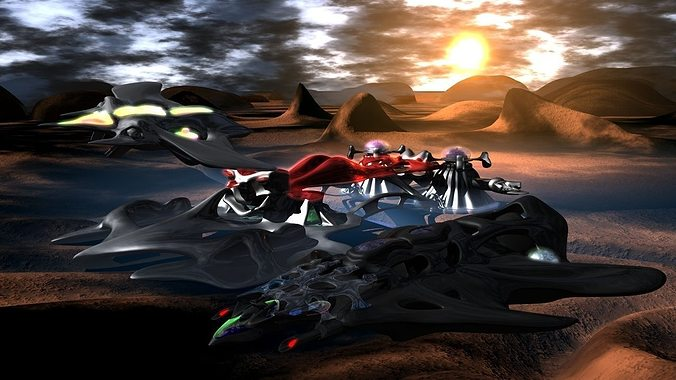 3d alien lifeforms in outer space cgtrader for Outer space 3d model