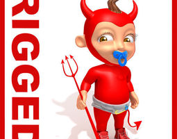 Devil Baby Cartoon Rigged  3D Model