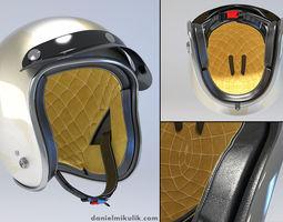 white retro motorcycle helmet 3d model