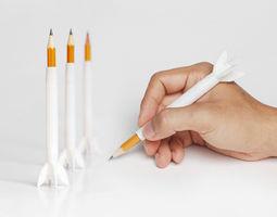 rocket pencil extender 3d printable model