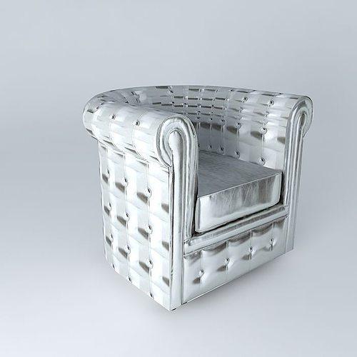 chesterfield silver armchair maisons du monde 3d model max obj mtl 3ds fbx stl dae. Black Bedroom Furniture Sets. Home Design Ideas