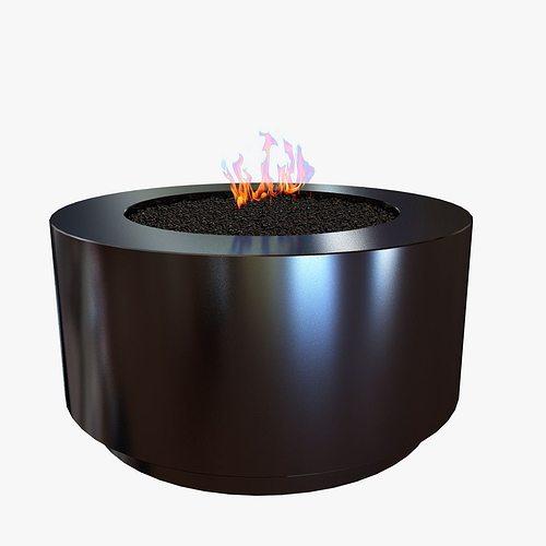 black round fire pit 3d model - Round Fire Pit