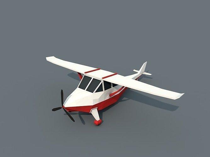 low poly plane 3d model low-poly obj fbx c4d 1