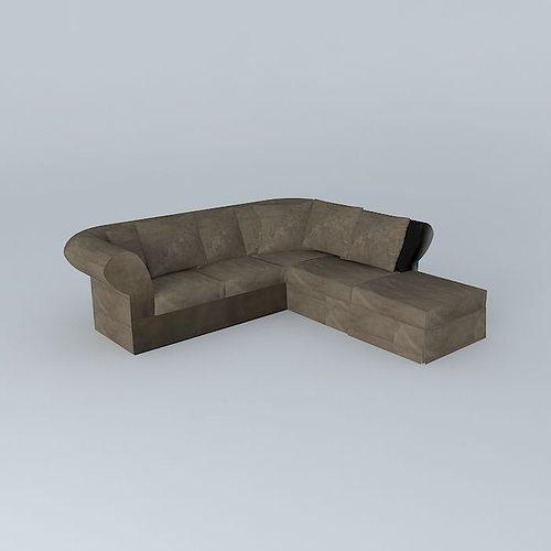3d model roma corner sofa maisons du monde cgtrader. Black Bedroom Furniture Sets. Home Design Ideas