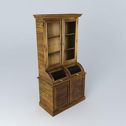 hutch key largo maisons du monde 3d model max obj 3ds fbx stl dae. Black Bedroom Furniture Sets. Home Design Ideas