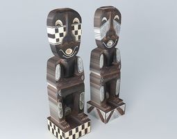 3d model 2 statuettes houses the world