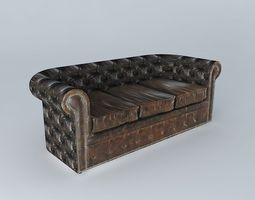 3d 3p brown leather sofa vintage houses the world