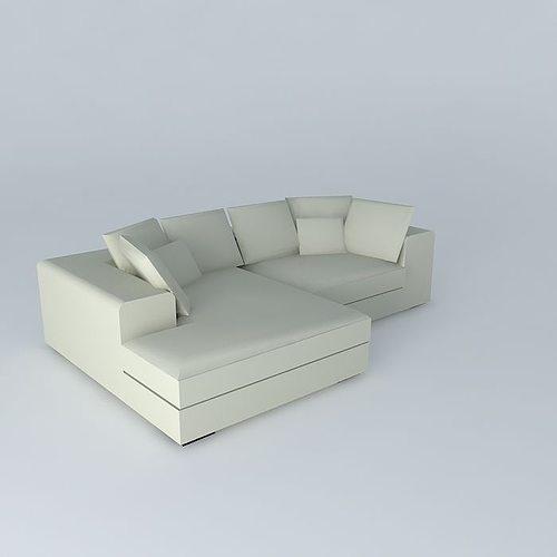 3d bruges corner sofa maisons du monde cgtrader. Black Bedroom Furniture Sets. Home Design Ideas
