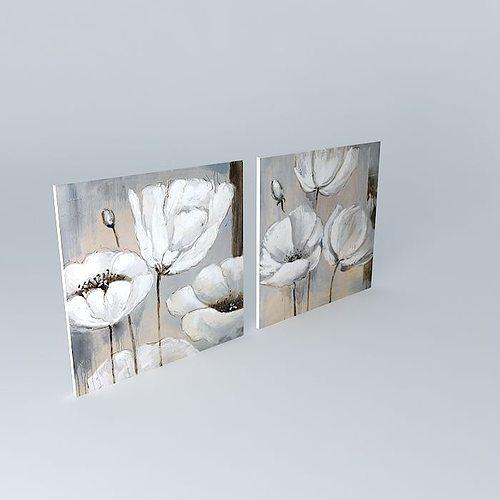 3d model the flora canvas maisons du monde cgtrader for Model decoration maison