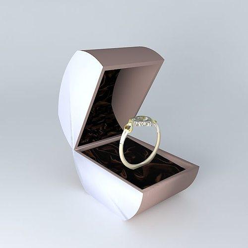 ladies gold platinum  heart style  engagement ring 3d model max obj 3ds fbx stl dae 1