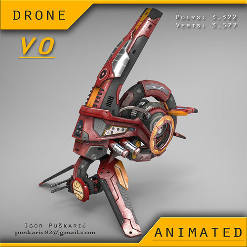 drone v0 red manga - animated 3d model low-poly rigged animated max obj mtl fbx tga 1
