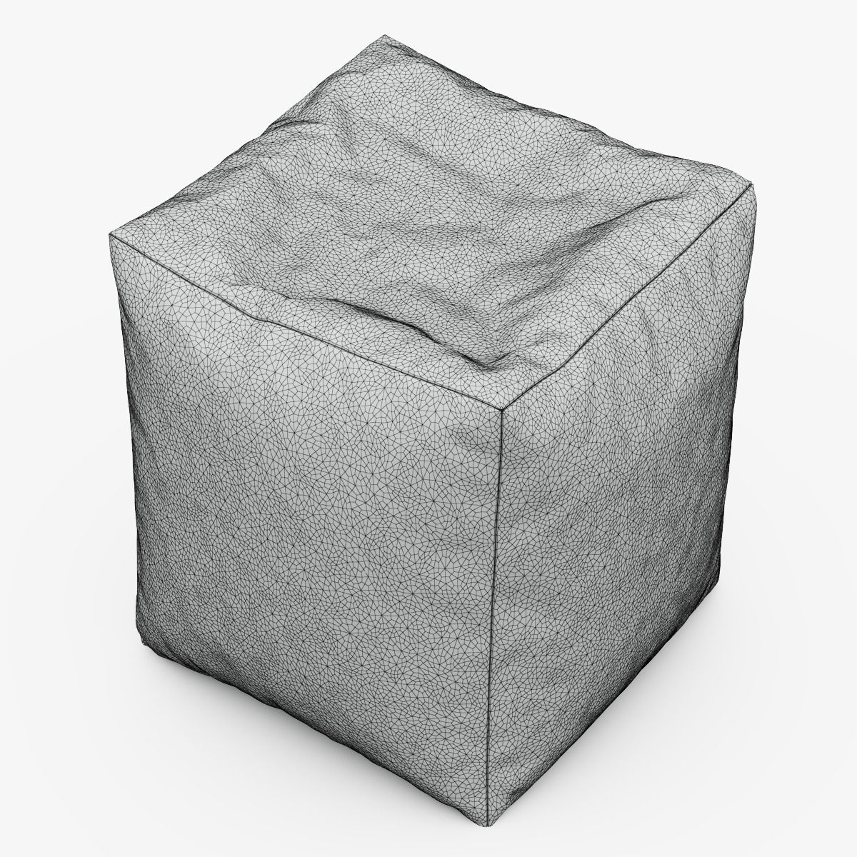 CUBE Bean Bag Faux Leather BLACK 3D Model MAX OBJ FBX ...
