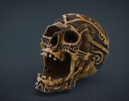 3d human head skull with ancient tribal tattoo