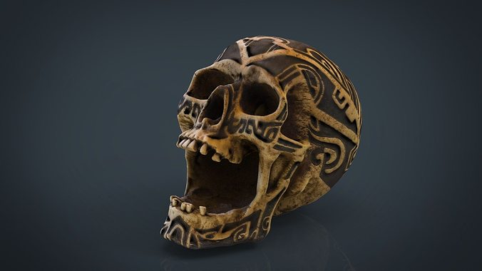 human head skull with ancient tribal tattoo 3d model obj fbx ma mb mtl 1