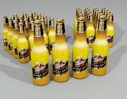 miller beer bottle lowpoly 3d model max obj