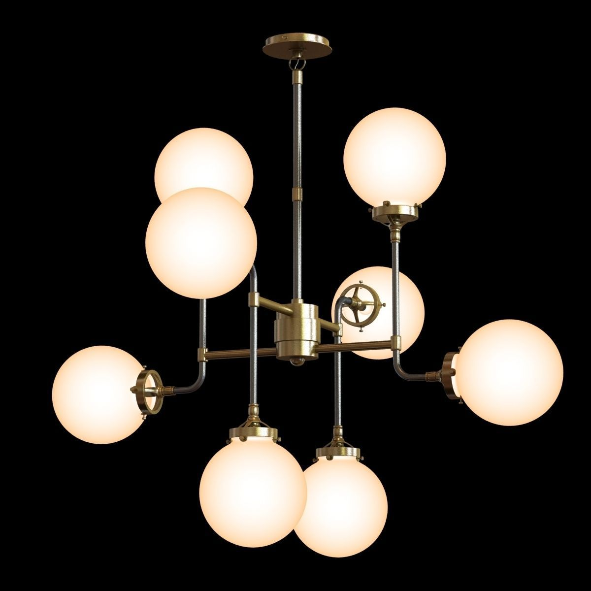 Restoration Hardware Bistro Globe Milk Gl 8 Light Chandelier Model