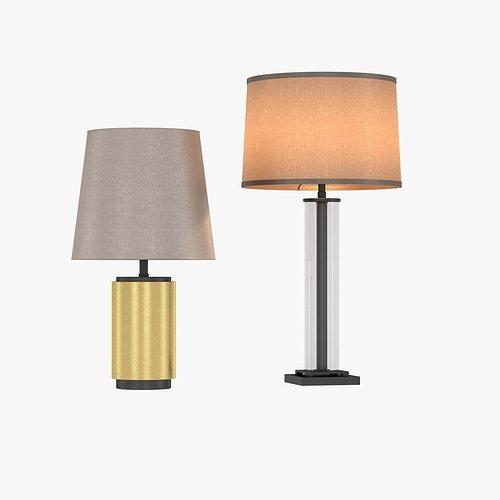 Restoration hardware french column glass table lamp 3d model