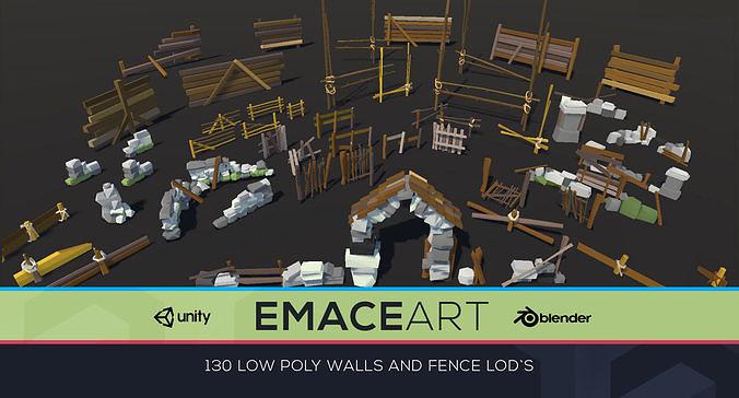 low poly fences and wall bundle pack 1-3 lods 3d model fbx blend unitypackage prefab 1
