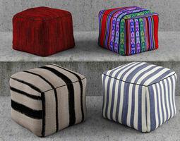 3D Poufs Modern Textures