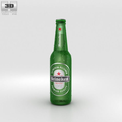 heineken beer bottle 3d model max obj mtl 3ds fbx c4d lwo lw lws 1