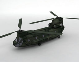 3D asset CH47 Chinook Helicopter