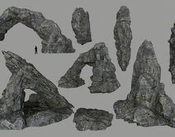 cliff rock set 3D asset