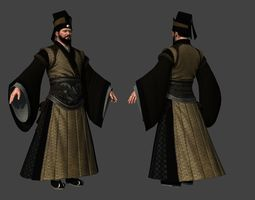 3D model Asian character Chinese Ancient officials
