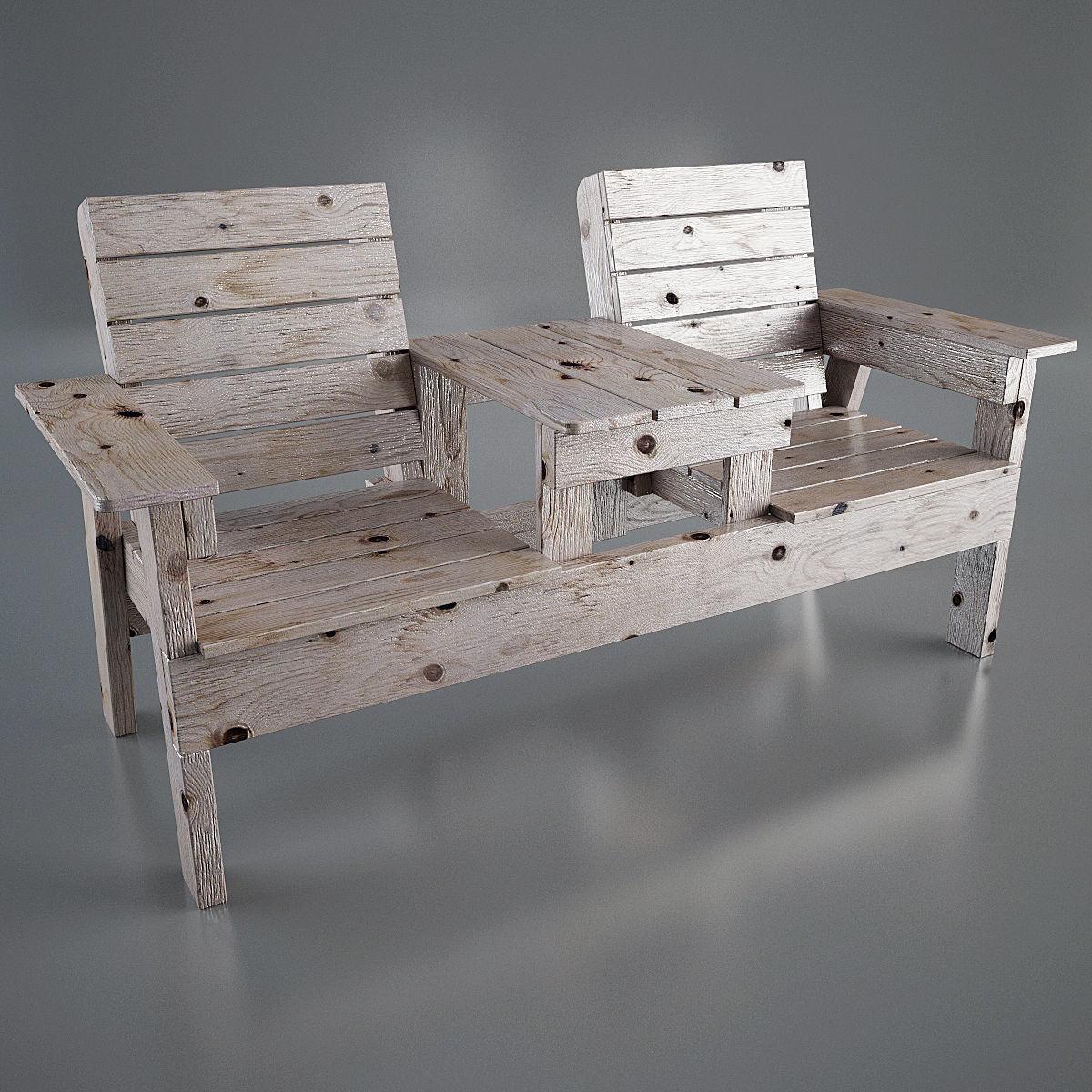 Astonishing Double Chair Bench 3D Model Ncnpc Chair Design For Home Ncnpcorg