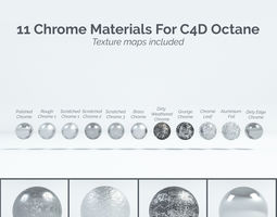 11 Chrome Materials for C4D Octane render 3D