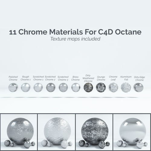 11 chrome materials for c4d octane render 3d model c4d 1