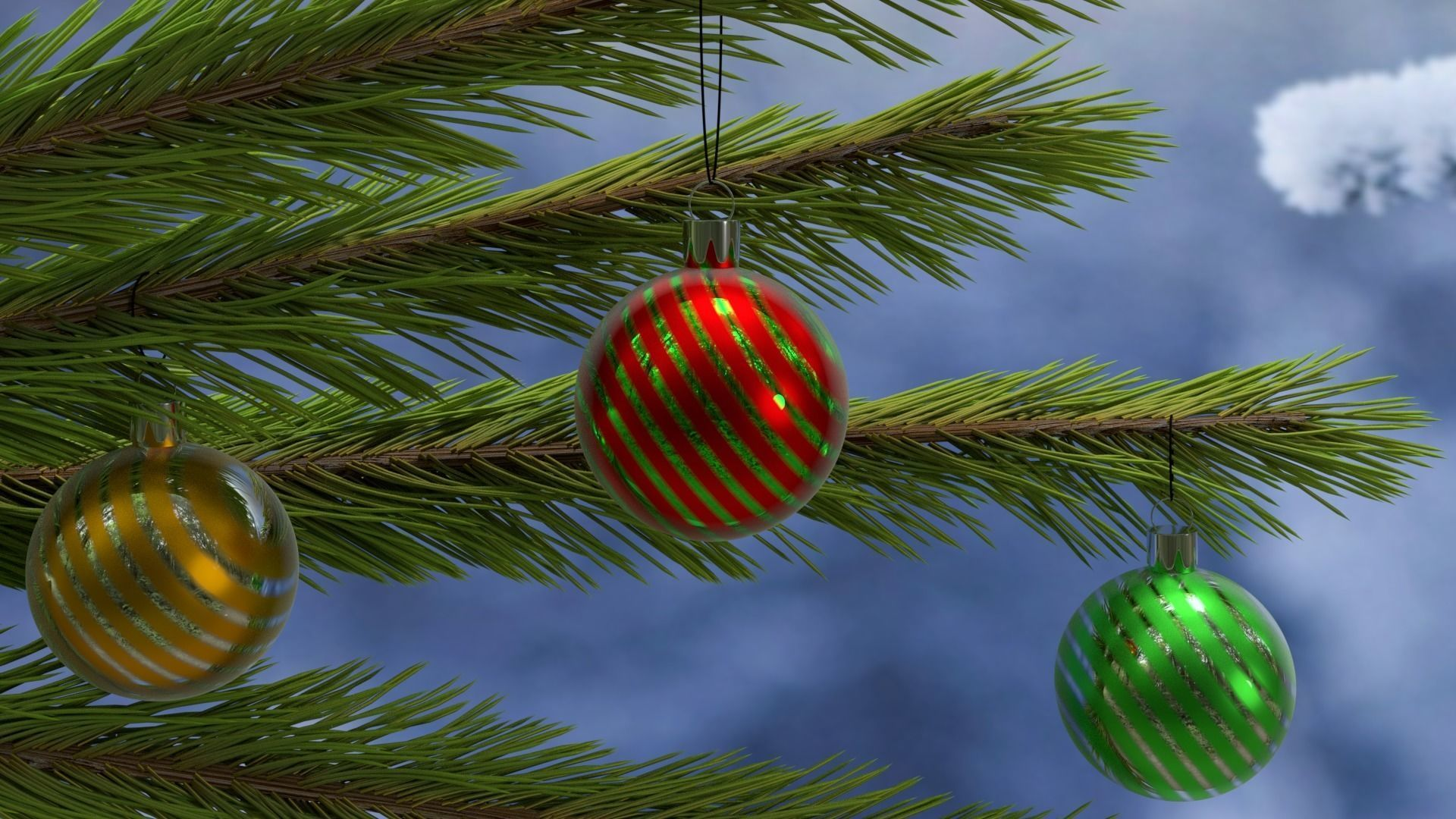 3D Christmas balls and toys
