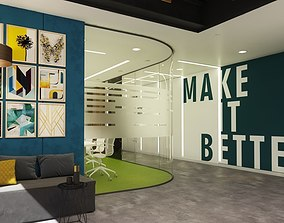 Modern office interior design model 3D