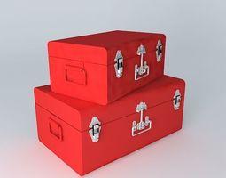 Set 2 red trunks houses the world 3D