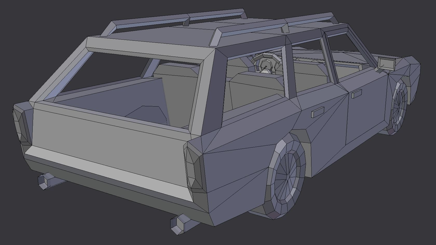 Muscle Car Station Wagon With Interior Mobile 3d Asset