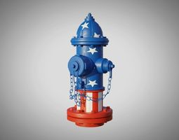 Fire Hydrant 20 - Patriotic American Flag 3D model 1