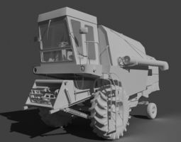realtime Old harvester low-poly with mapping game asset