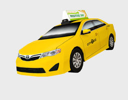 3D asset Toyota Camry city cab taxi low polygon