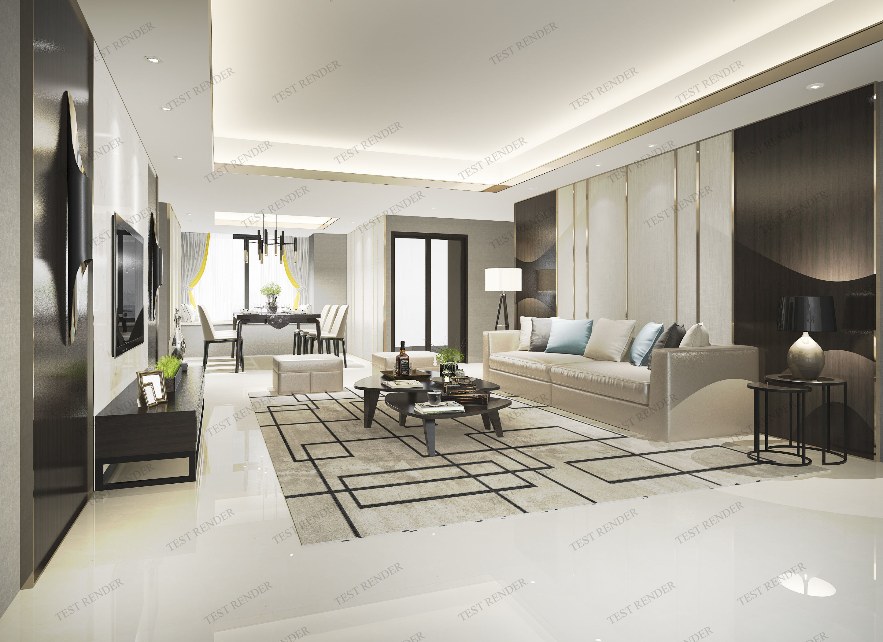 modern living room with tv and dining room | 3D model
